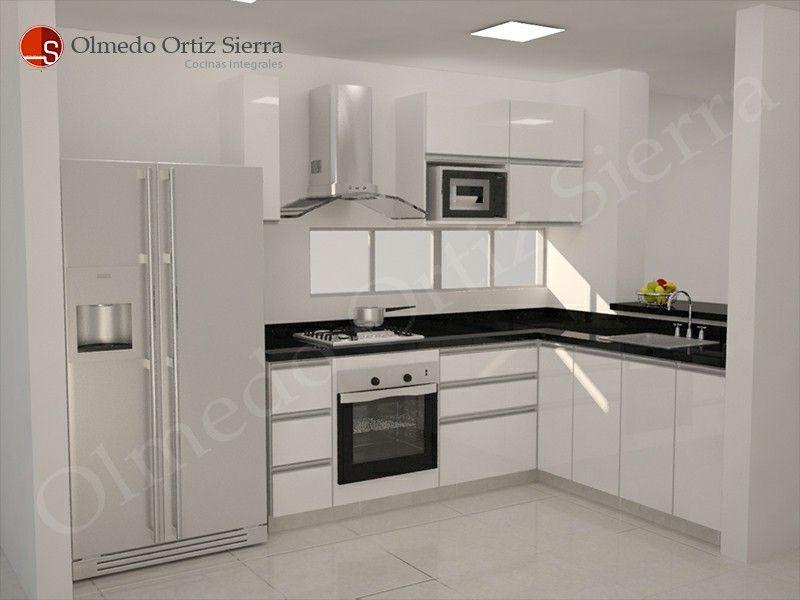 Diseño de cocina integral en blanco y negro - Cocinas en Cali - Cocinas Integrales Blancas
