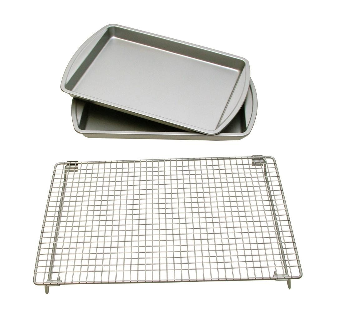 Baking Sheet With Cooling Rack Set Of Two Sheets Kitchen Baker S