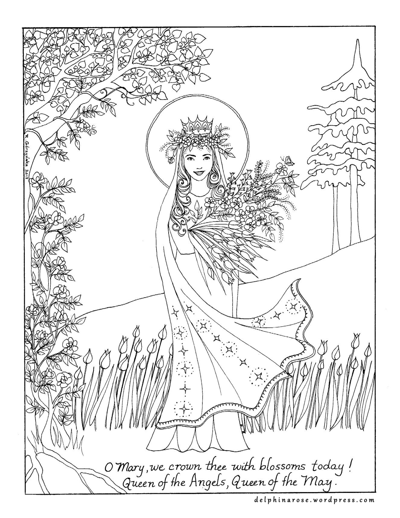 May Queen — Catholic Coloring Page