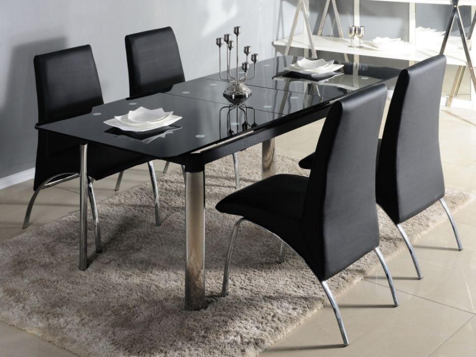 Table Extensible Olga 6 A 8 Couverts Verre Trempe Noir Et