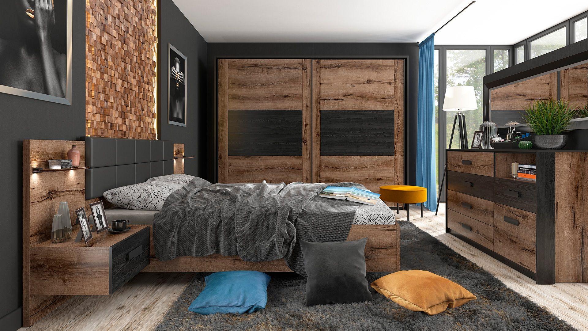 Luxury European King Size Bedroom Set Wardrobe Lights Bedside Oak Black Kassel Ebay King Size Bed Frame Bed Frame And Headboard Modern Luxury Bedroom Furniture Dark oak bedroom ideas