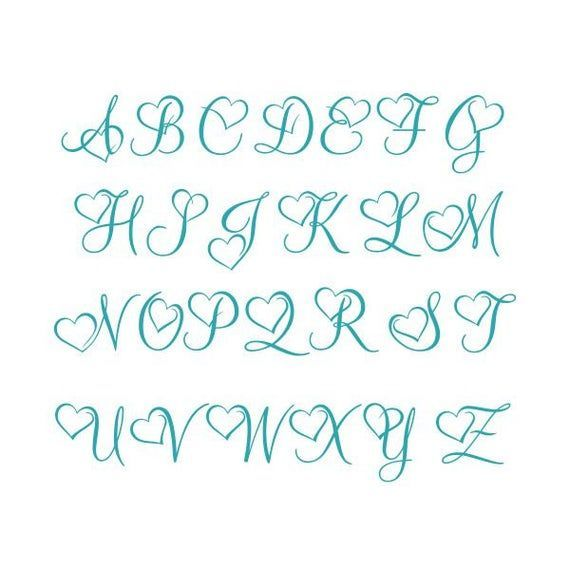 Download Heart Font Letters Love Monogram Cuttable Design SVG PNG ...