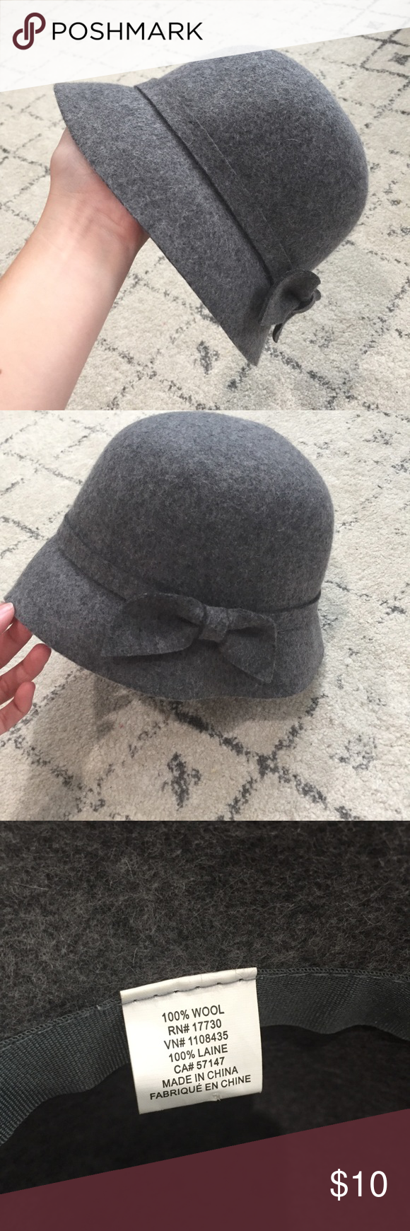 2765b984d7d Target bucket hat with bow Gray wool bucket hat from target. Worn once.  Cute style for fall. Merona Accessories Hats