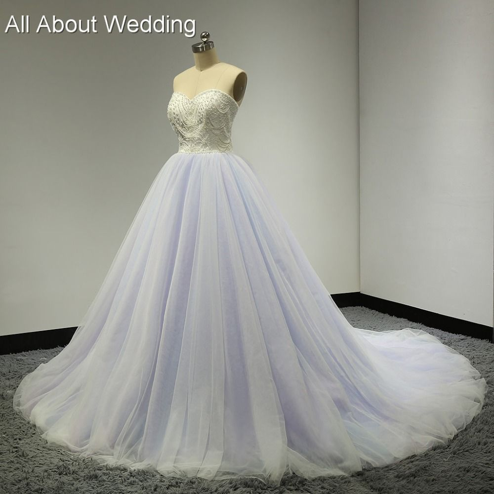Sweetheart ball gown pink blue purple colored wedding dresses real