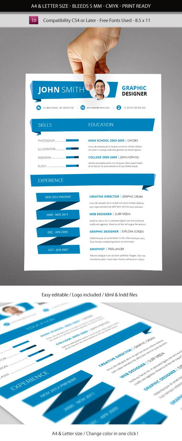 Indesign Resume Template A4 and Letter size by renefranceschi ...