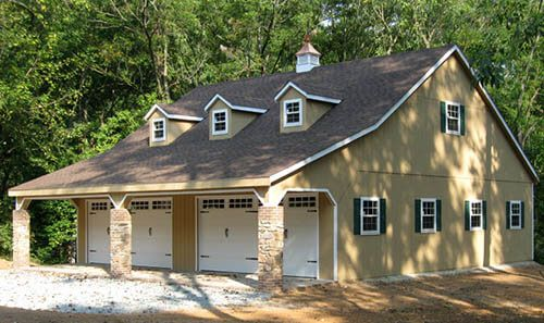 40x40 Custom 4 Car Garage With 2nd Story Office 3 Dormers And Cupola Garage Plans Portable Garage Garage House Plans