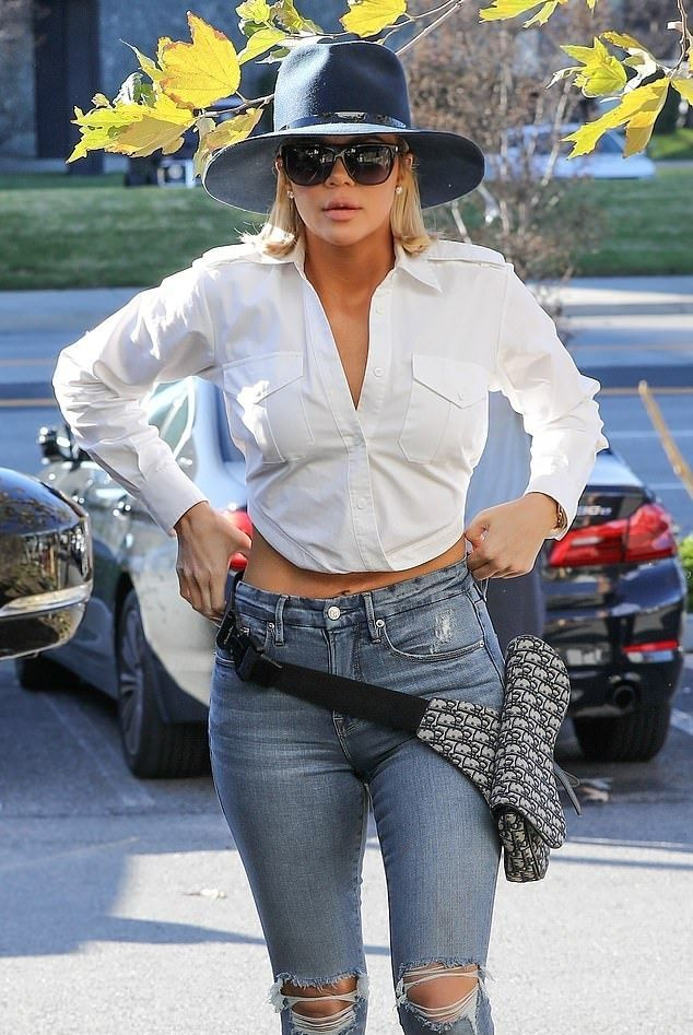 Khloe Kardashian White Crop Top Street Style Autumn Winter 2020 on SASSY DAILY