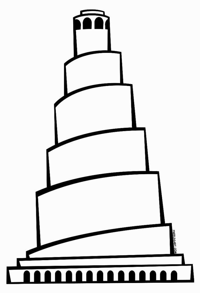 Tower Of Babel Coloring Sheet | Tower of babel, Sunday ...