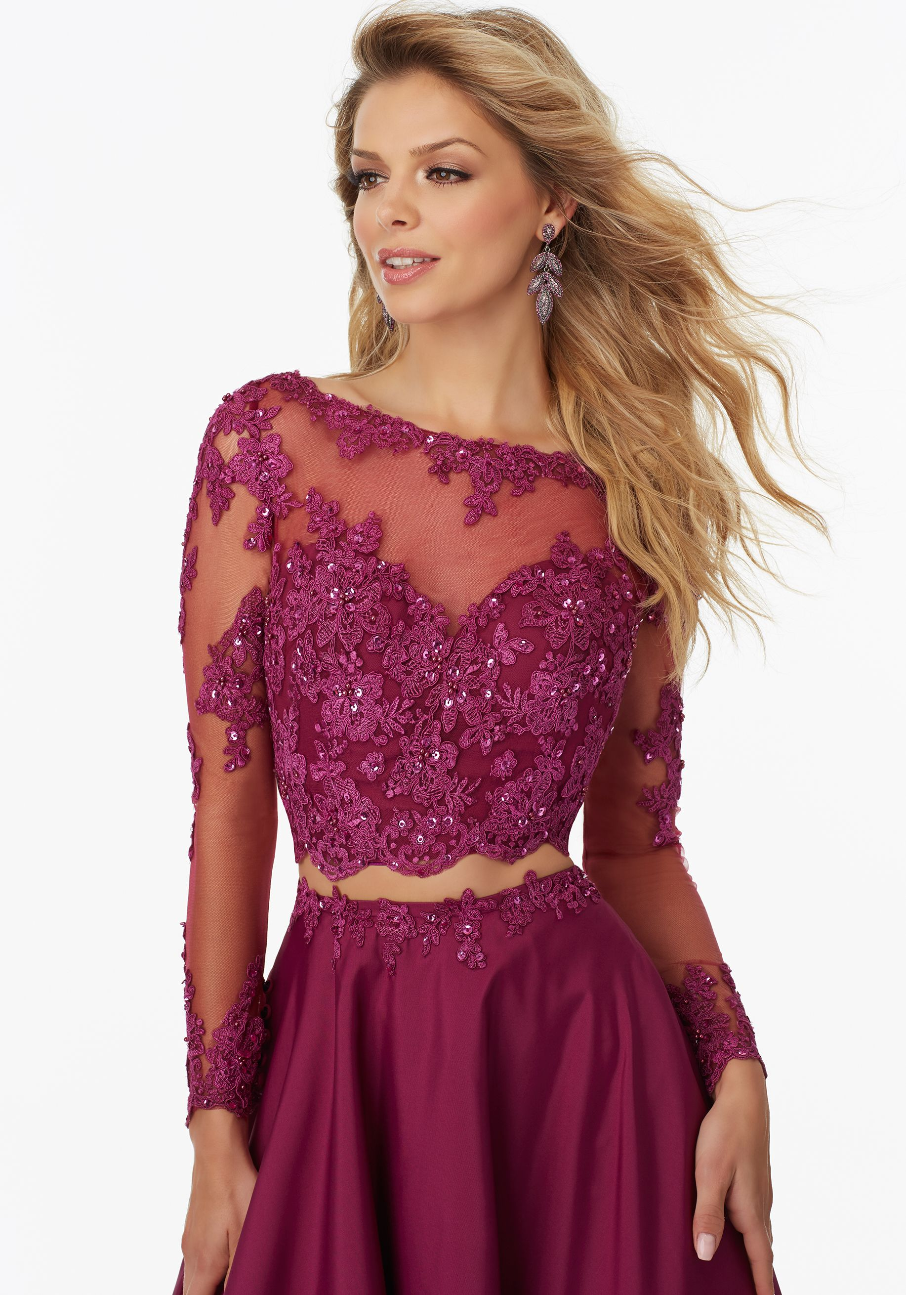 Two Piece Prom Dress With Long Sleeved Lace Morilee Cheap Prom Dresses Long Prom Dresses For Teens Piece Prom Dress [ 2620 x 1834 Pixel ]