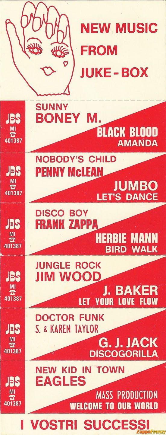 Juke box title strip for word