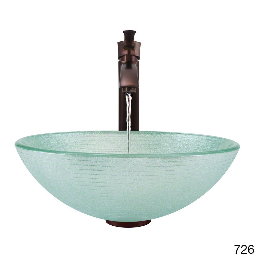 Mr Direct 636 Foil Undertone Glass Vessel Sink with Oil Rubbed