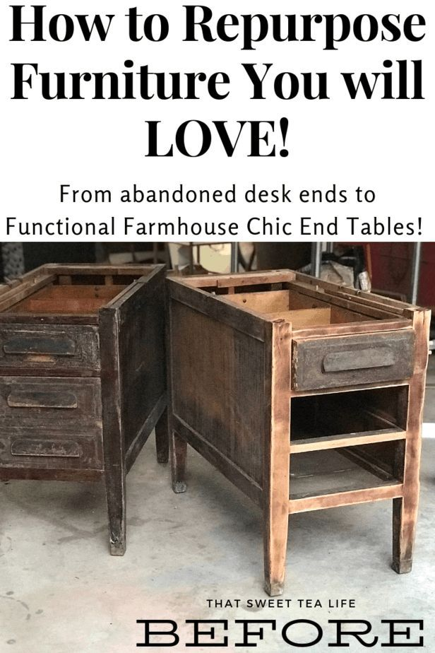 From abandoned desk ends to Farmhouse Chic End tables! #redoingfurniture