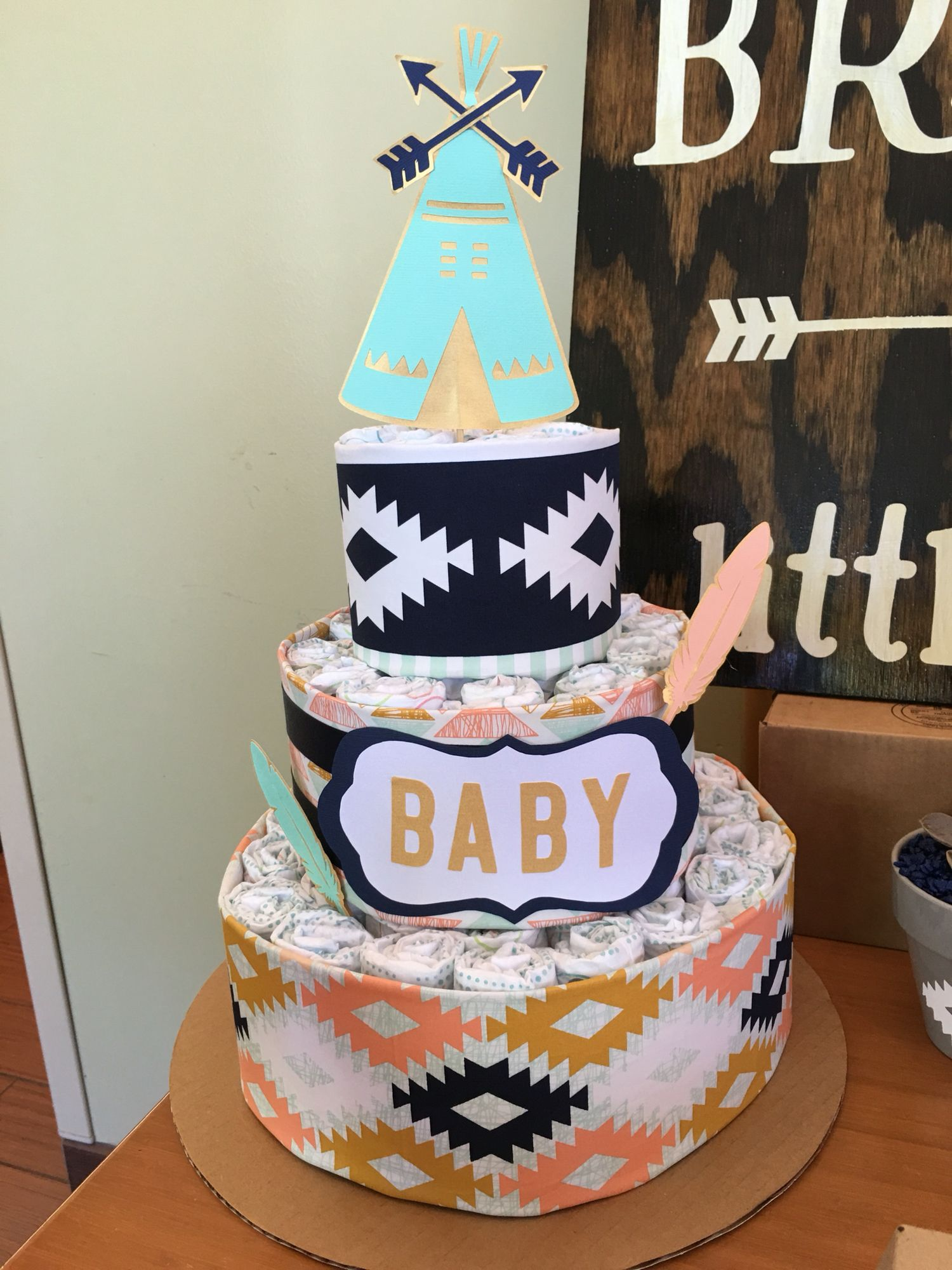 Diaper Cake For Quot Be Brave Little One Quot Tribal Boho Indian