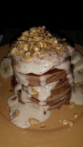 Maple Cinnamon Pancakes w/ Granola and Maple Protein Fluff.