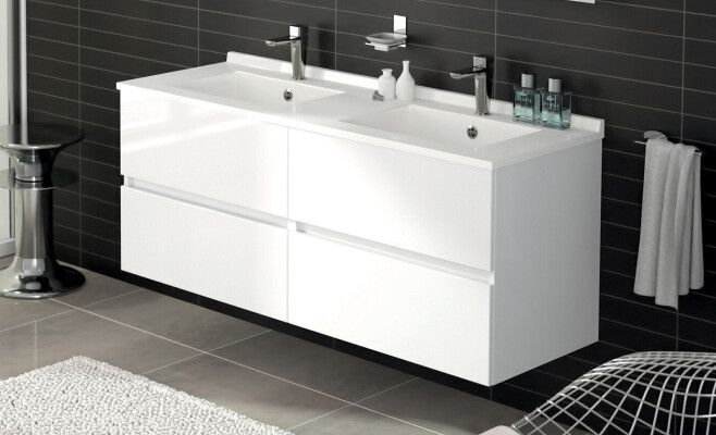 Ensemble Parm double vasque meuble 140 cm 4 tiroirs blanc brillant