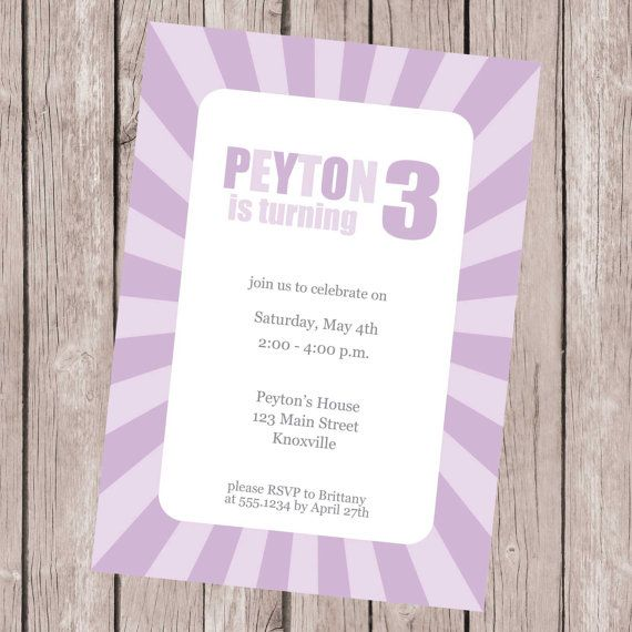 Purple Birthday Party Invitation by CarouselPrintables on Etsy, $12.00