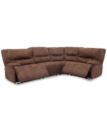 Admirable Felyx 4 Pc Fabric Sectional Sofa With 2 Power Recliners Machost Co Dining Chair Design Ideas Machostcouk