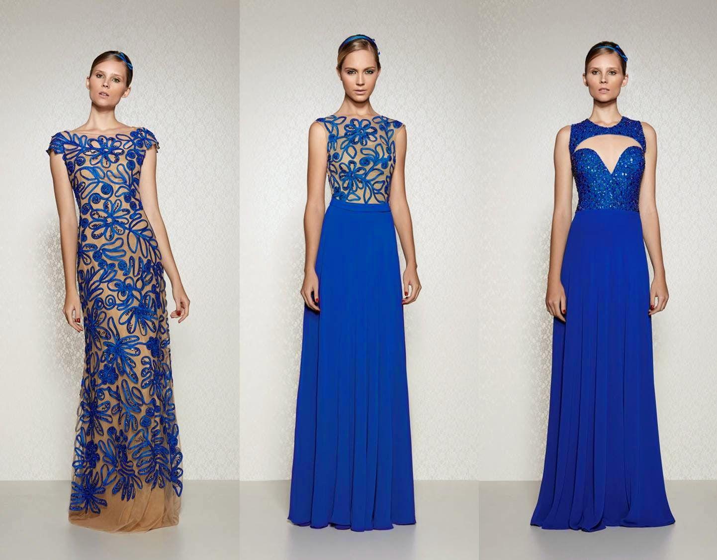 Vestido longo social azul