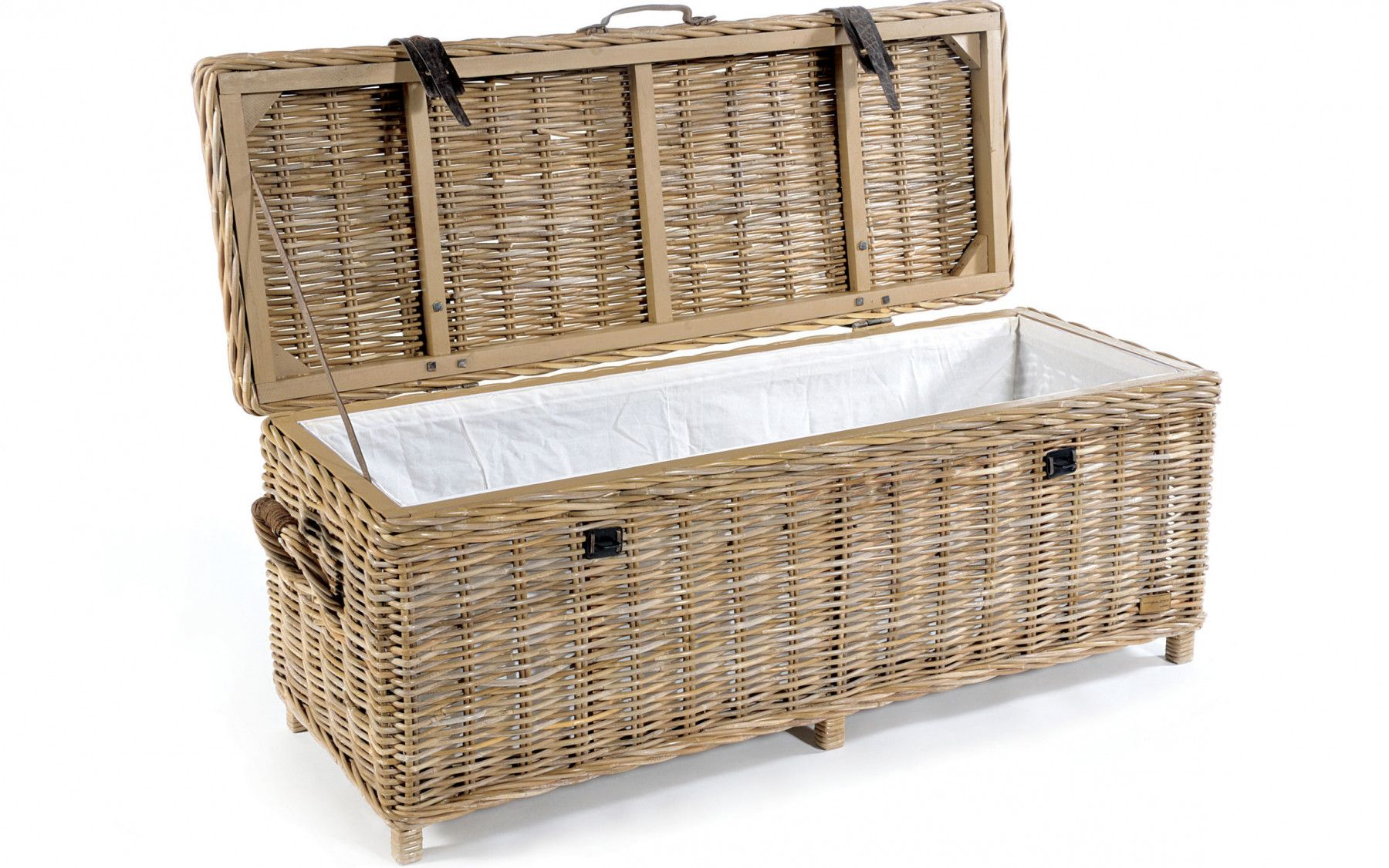 Merveilleux Rattan May Wicker Storage Bench With Cushion   Modish Living