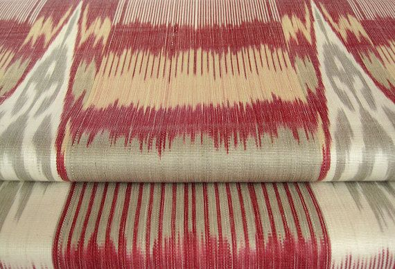 3 yards of Hand crafted natural silk cotton ikat by SilkWay, $36.00