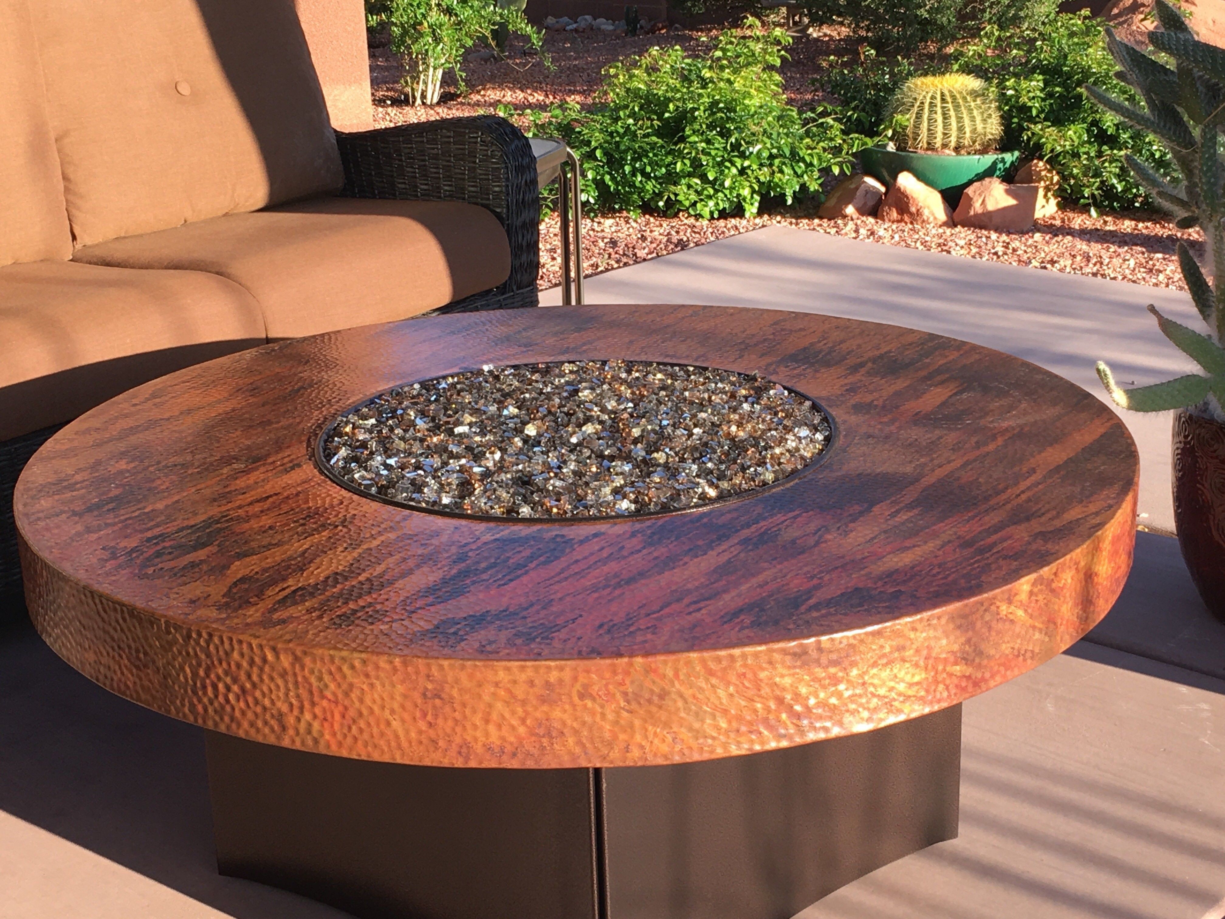 Oriflamme Gas Fire Pit Table Hammered Copper Natural Outdoor