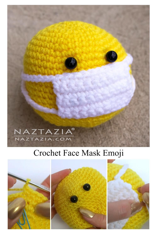 Crochet Face Mask Emoji Smiley Face Ball Amigurumi