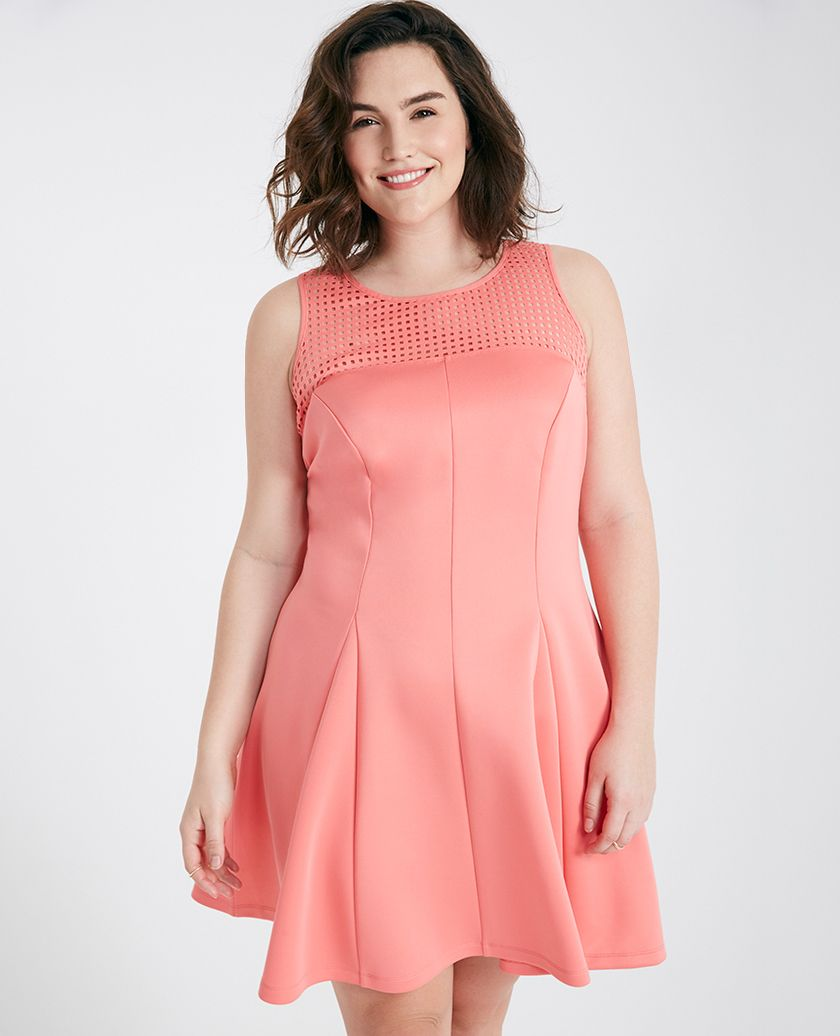 Plus Size Laser Cut Yoke Skater Dress Plus Size Laser Cut ...