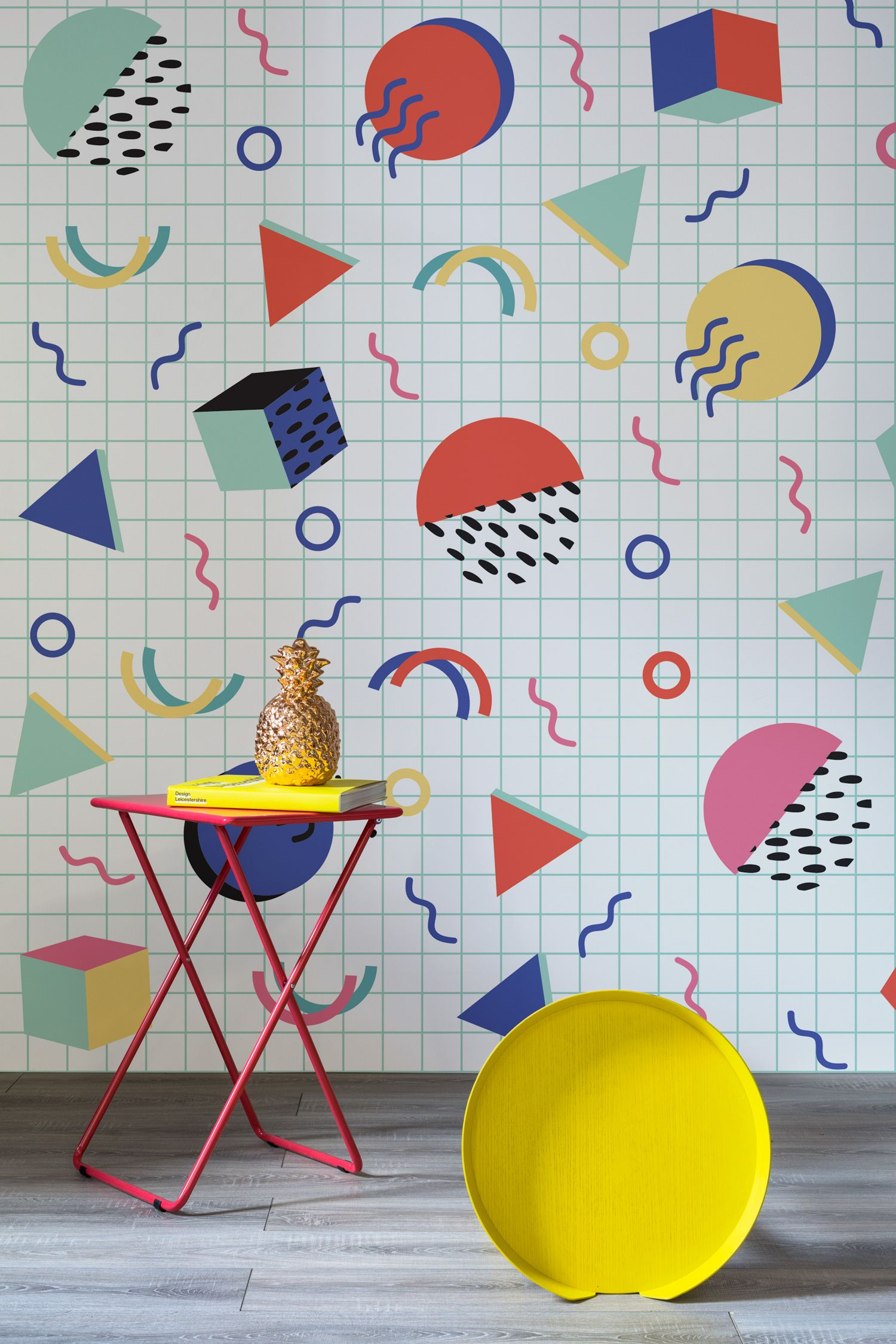 Take on the Memphis movement with these punchy wallpaper designs