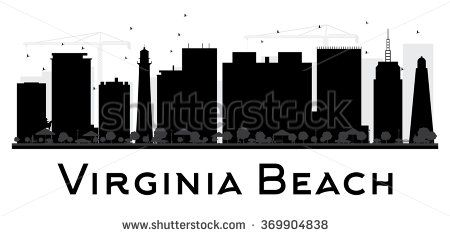 Virginia Beach City skyline black and white silhouette. Vector illustration. Simple flat concept for tourism presentation, banner, placard or web. Business travel concept. Cityscape with landmarks - stock vector