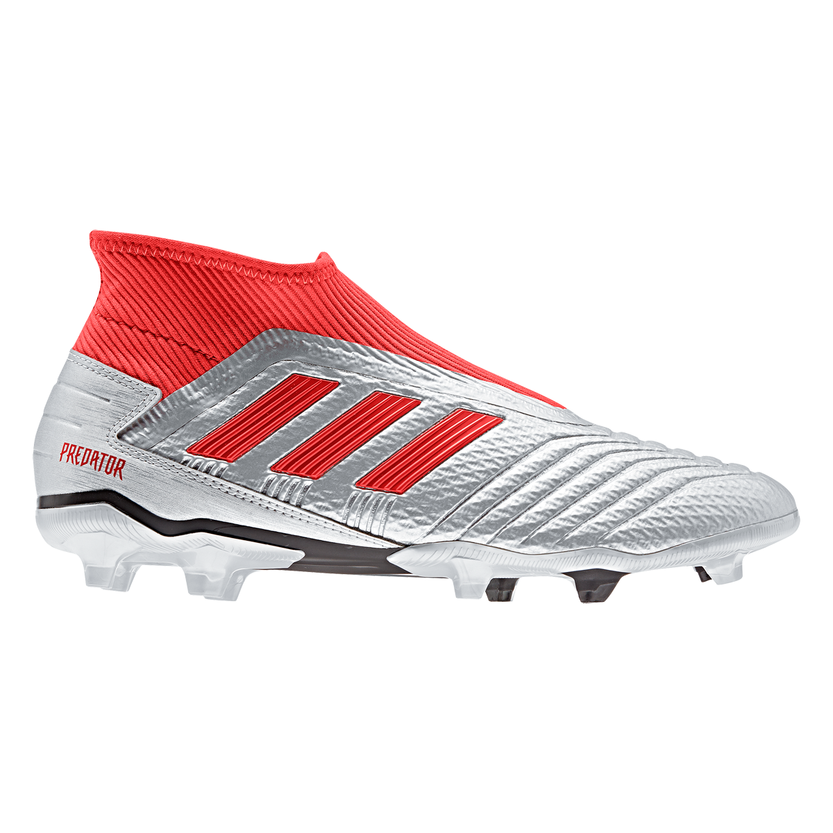 Adidas Predator 19 3 Laceless Fg Soccer Cleat Metallic Silver Black Hi Res Red 11 5 Metallic Silver And Black Adidas Predator Soccer Shoes