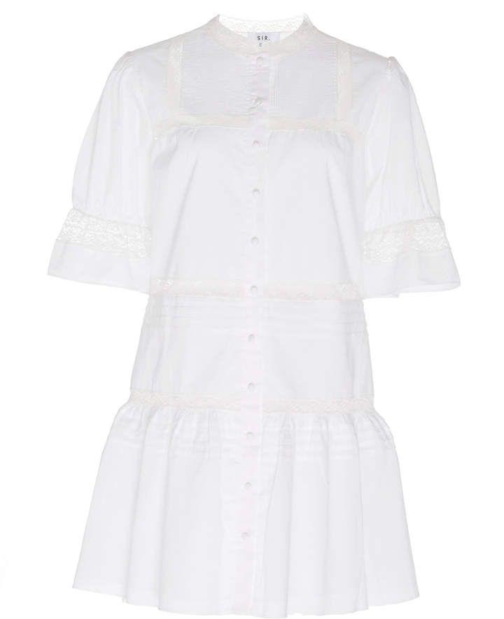 Sir The Label Maci Lace-Paneled Cotton-Poplin Mini Dress