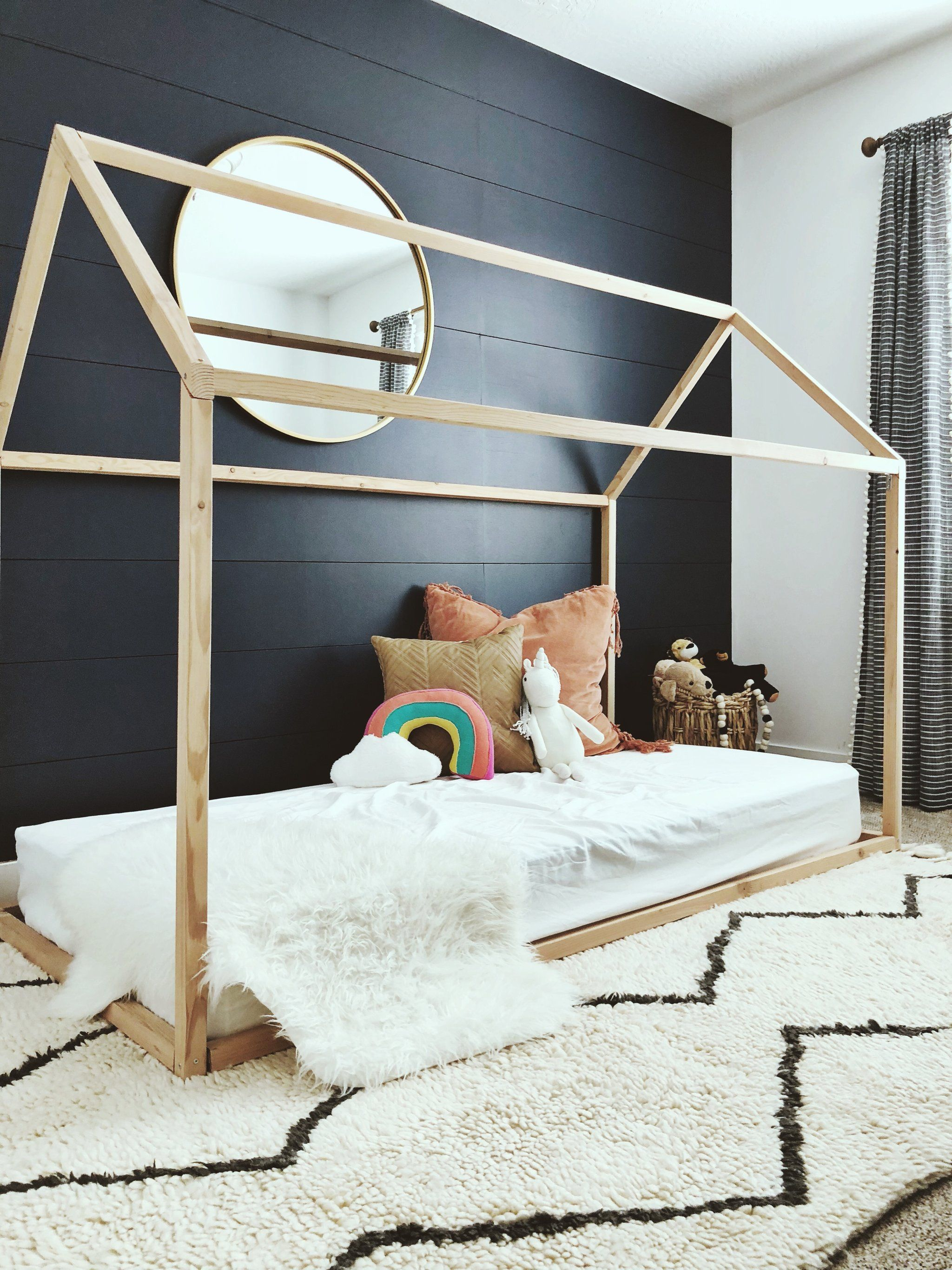 house bed for kids frame toddler montessori bedroom beds nursery print designs