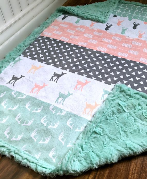 Woodland Baby Blanket - Designer Minky - Fawn Faux Quilt ...