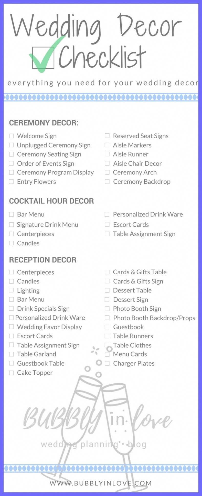 Wedding Reception Checklist Wedding Decorations Wedding Checklist Wedding Decor Wedding Decoration Checklist Wedding Reception Checklist Cocktail Hour Decor