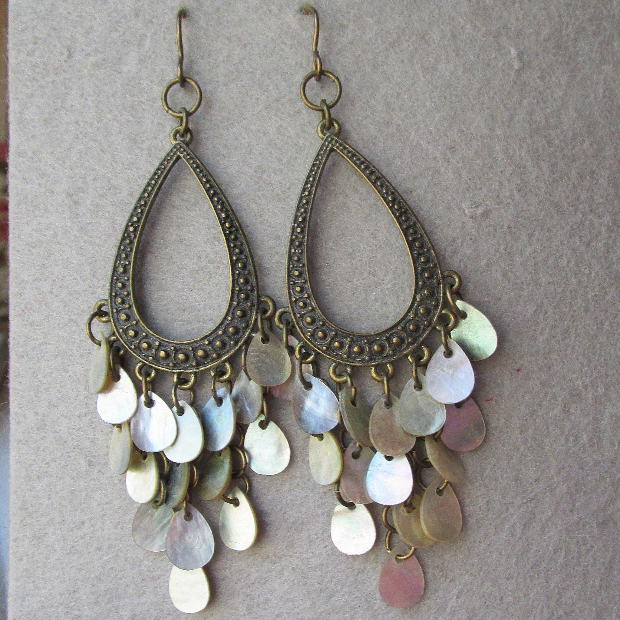 Big brass iridescent shell dangle disks vintage chandelier earrings big brass iridescent shell dangle disks vintage chandelier earrings arubaitofo Choice Image