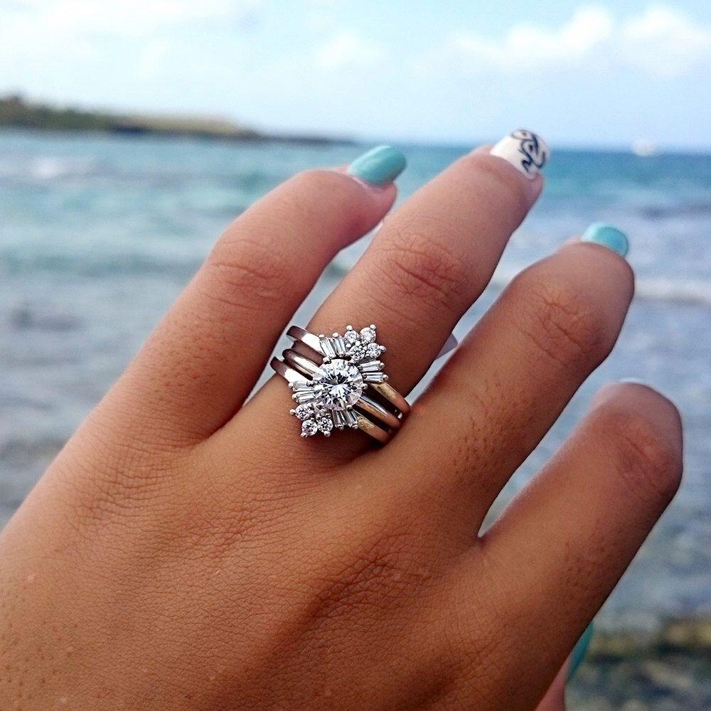 Sunburst Solitaire Wedding Ring Guard