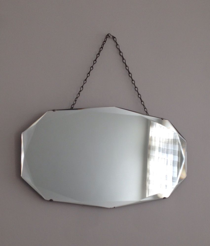 Beveled Mirror With Chain Vintage Art Deco Iconic Frameless Beveled Edge Hanging