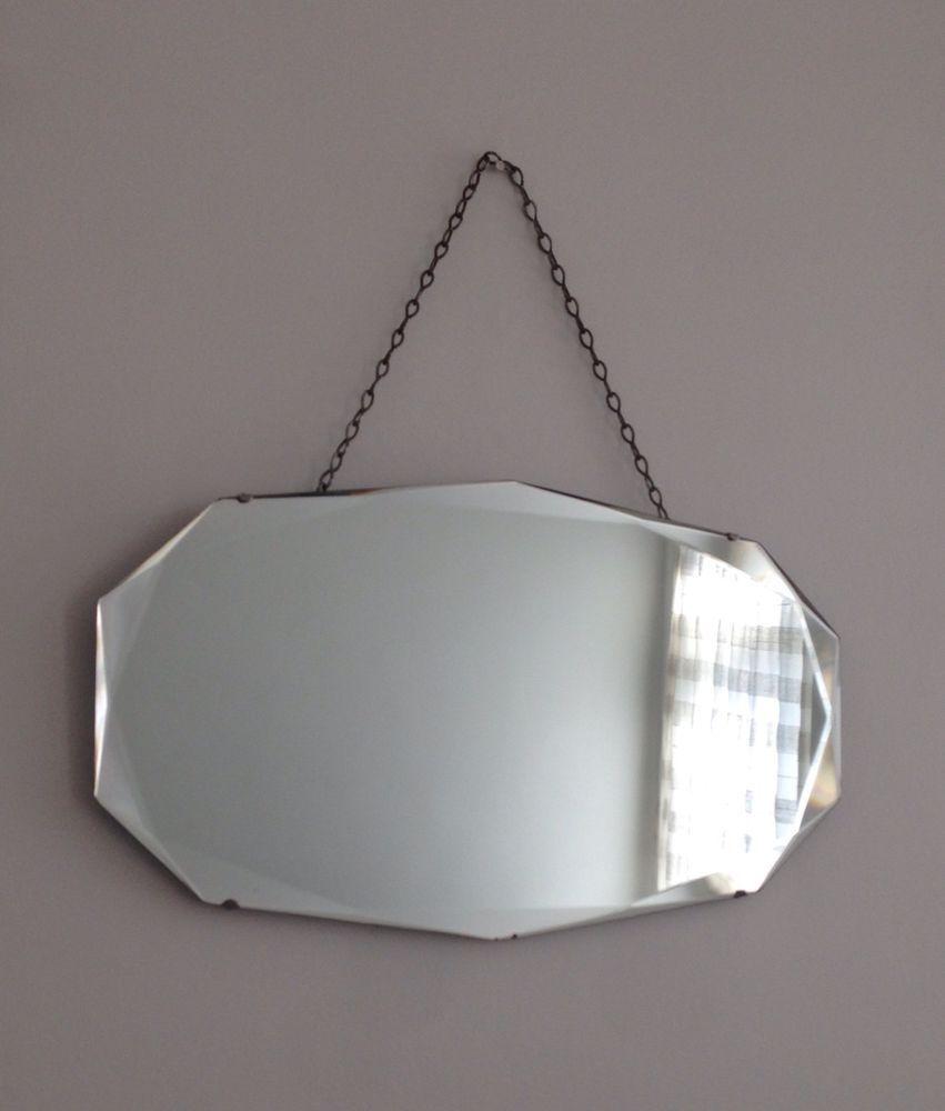 Vintage art deco iconic frameless beveled edge hanging wall mirror vintage art deco iconic frameless beveled edge hanging wall mirror with chain amipublicfo Choice Image