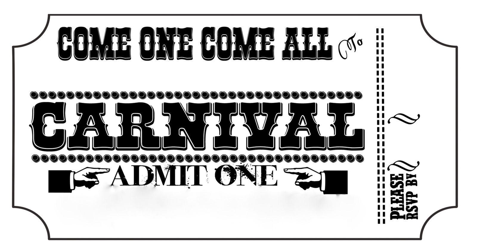 Diy Carnival Ticket Invitation Template  Haunt PropsScenes