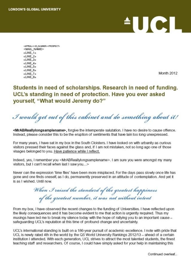 acceptance letter university college london Christmas Wish List