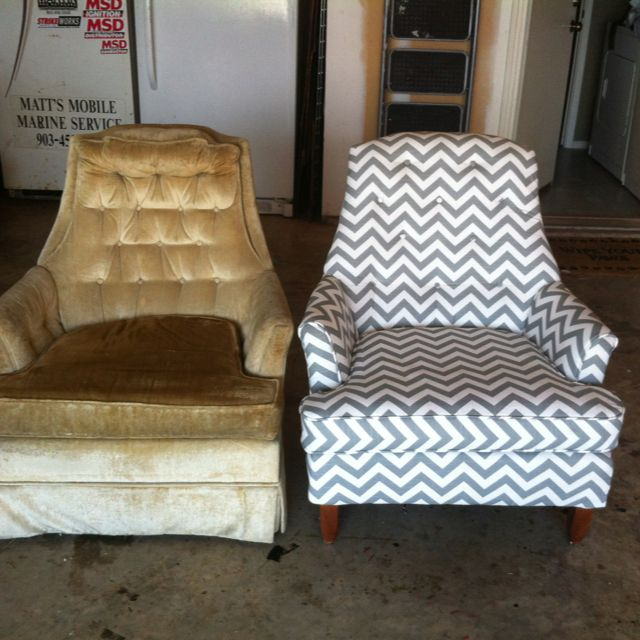 Before and after reupholstery of an old beat up 70 s chair