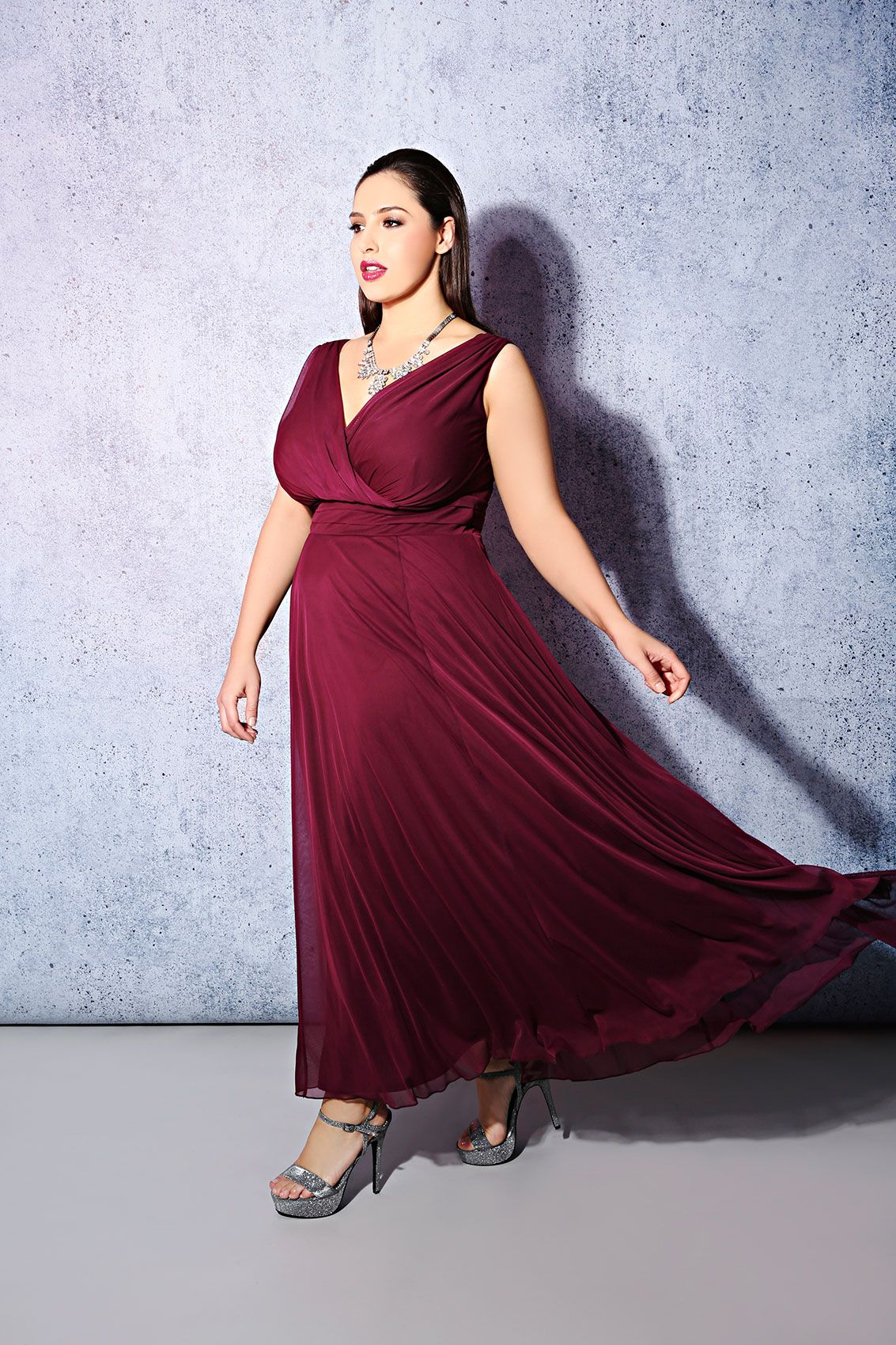 e5fda05a8dc SCARLETT   JO Cranberry Chiffon Maxi Dress