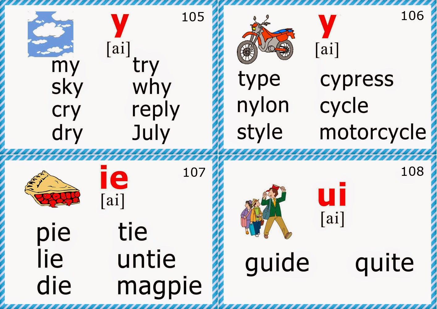 Phonics Flashcards Long I Vowel Avec Images