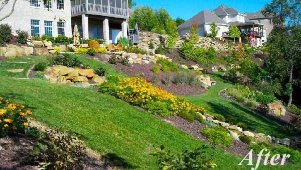 down sloped landscaping | Landscape Design Gallery of ...