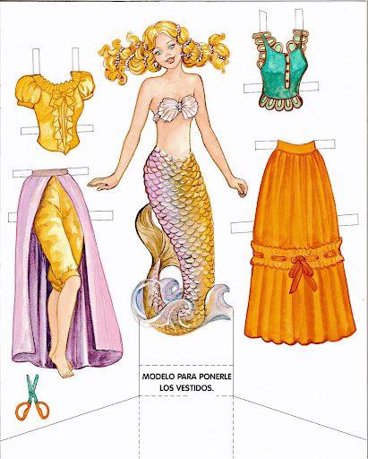 Princess Paper Doll - Little Mermaid | Gabi's Paper Dolls