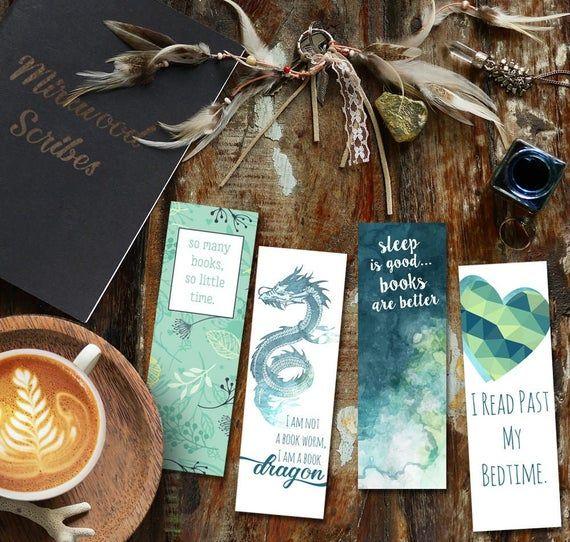 Book Dragon Printable Jade Green Bookish Bookmarks Set Of