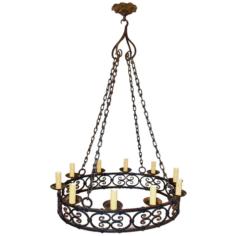1stdibs Large Antique French Wrough Iron Chandelier Explore
