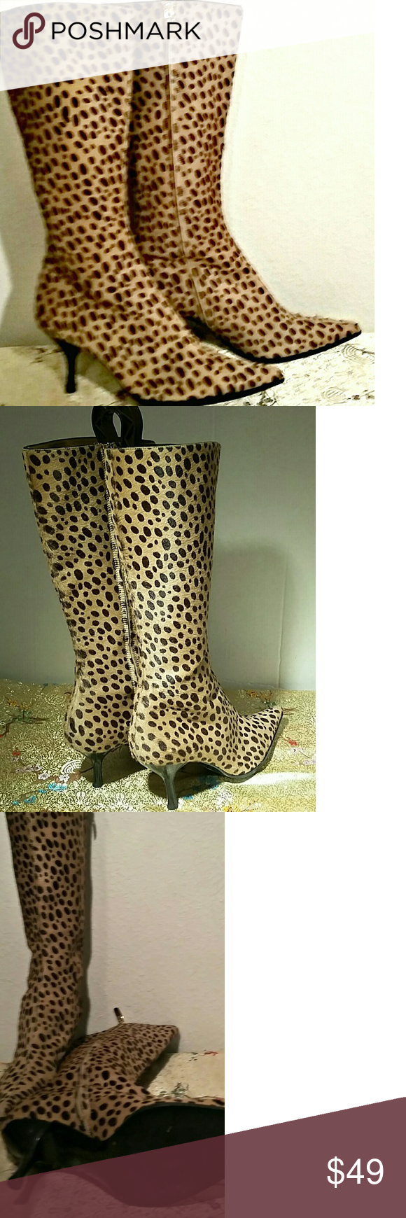 e6b3bf48296733 NEW -Vero Cuoio Leopard calf hair boots Gorgeous mid height stiletto boots  in perfect condition