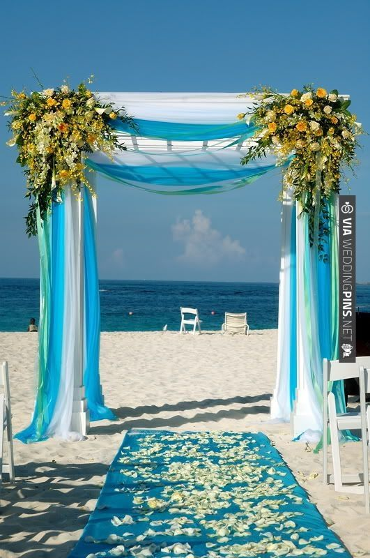 Wedding arch decoration via weddingpins wonderful colors the south beach wedding decoration with wedding arch bamboo gazebo for beach wedding with flowers and aisle decorations and pedestal junglespirit Image collections