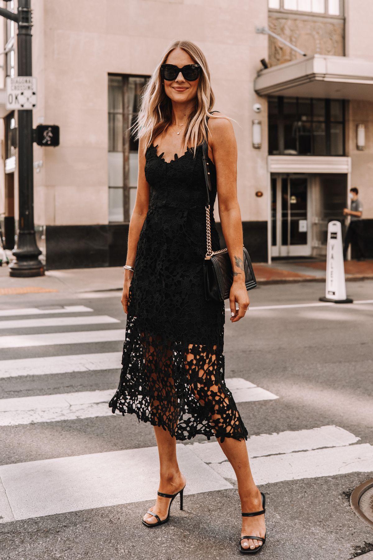 Fashion Jackson Wearing Black Lace Midi Dress Black Heeled Sandals Cocktail Dress 2 In 2020 Womens Black Lace Dress Lace Black Dress Outfit Lace Dress Black [ 1800 x 1200 Pixel ]